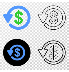 dollar refund eps icon with contour version vector image