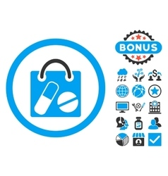 Drugs Shopping Bag Flat Icon with Bonus vector image