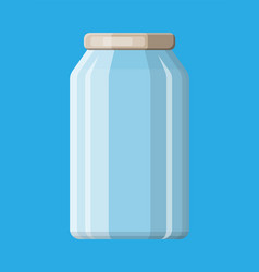 Empty glass jar for canning and preserving vector