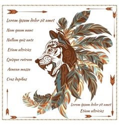 Envelope in ethnic style image of the wolf with vector image