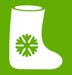Felt boots icon green vector