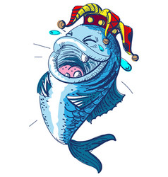 Fish laugh april 1 fools day clown crown king of vector