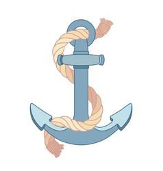 Flat outline sea icon anchor vector
