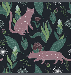 Floral background with cat vector