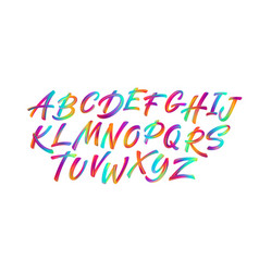 full color handwriting paint brush lettering latin vector image