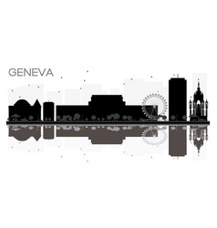 geneva city skyline black and white silhouette vector image
