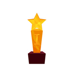 gold star award on a stand golden first place vector image