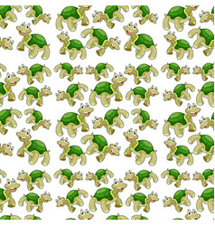 green turtle seamless pattern vector image