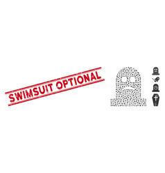 Grunge swimsuit optional line stamp and collage vector
