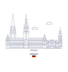 Hamburg city skyline vector