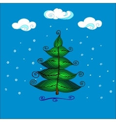 Hand Drawn Beautiful christmas tree vector