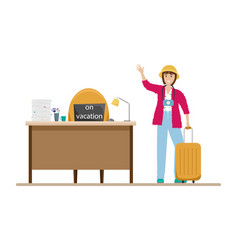 happy girl goes on vacation from work vacation vector image