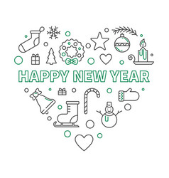 happy new year heart outline minimal vector image