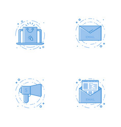 Icons with laptop with email speaker and letter vector
