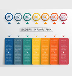 Infographics design template color buttons and 7 vector