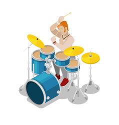 isometric rock drummer playing on drums vector image