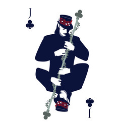 jack of clubs with top hat hugging a rod vector image