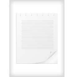 Lined paper with curled corner vector image