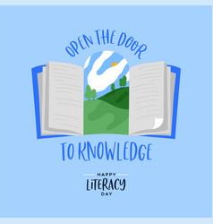 Literacy day open book door knowledge card vector