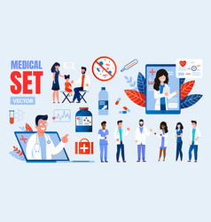 medical professionals multinational characters set vector image
