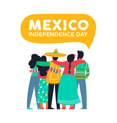 Mexico independence day card of mexican friends vector