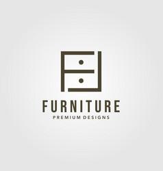 minimalist drawer furniture interior logo with vector image