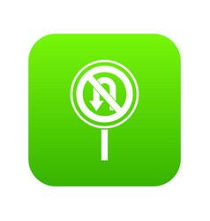 no u turn road sign icon digital green vector image