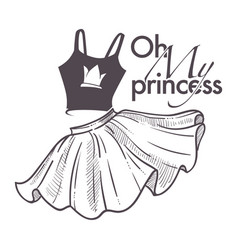 Oh my princess shop logo with top and flared skirt vector