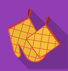 Oven glove and pot holder icon in flate style vector