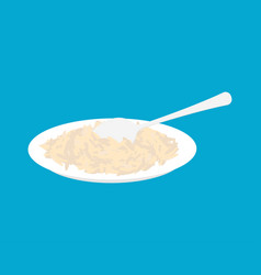 Parboiled rice porridge in plate and spoon vector