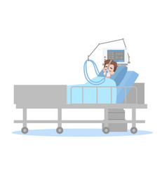 Patient connected to a ventilator vector