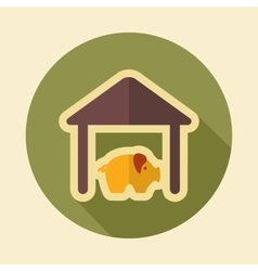 Pigsty retro flat icon with long shadow vector