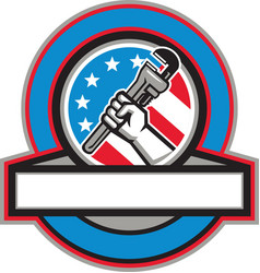 Plumber Hand Pipe Wrench USA Flag Circle vector image