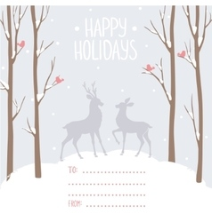 Postcard winter deer vector