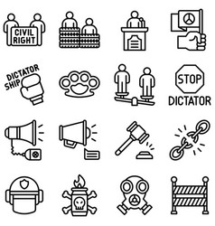 Protest related icon set 2 line style vector