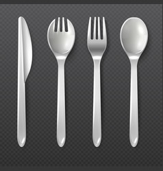 Realistic disposable white plastic spoon fork vector