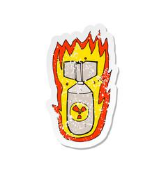 Retro distressed sticker a cartoon flaming bomb vector
