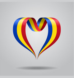 Romanian flag heart-shaped ribbon vector