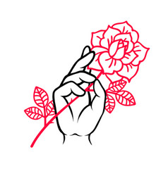 rose tattoo with hand traditional black tyle ink vector image
