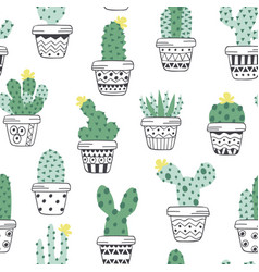 Seamless pattern with cactus in pots vector