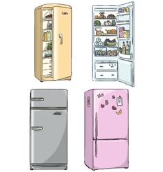 set four hand drawn cartoon fridges vector image