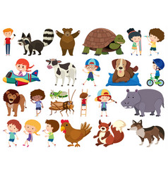 Set isolated objects theme animals and kids vector