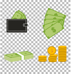 set moneydollars and coins on transparent vector image