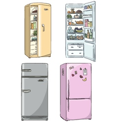 set of four hand drawn cartoon fridges vector image