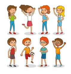 set of happy kids cartoon vector image