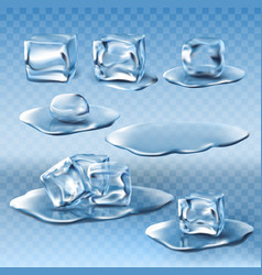 Set of wet melting ice cubes and water vector