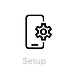 Setup phone icon editable line vector