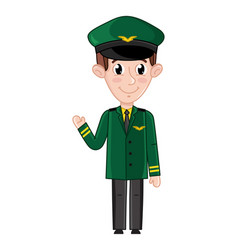 smiling boy in airplane pilot uniform vector image
