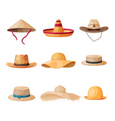 Summer hats collection straw headdress for men vector