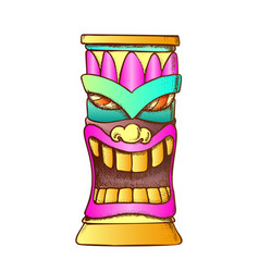 Tiki idol carved wooden totem color vector